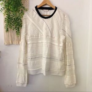 ANTHRO Eri + Ali Lace Ruffle Textured Sweater